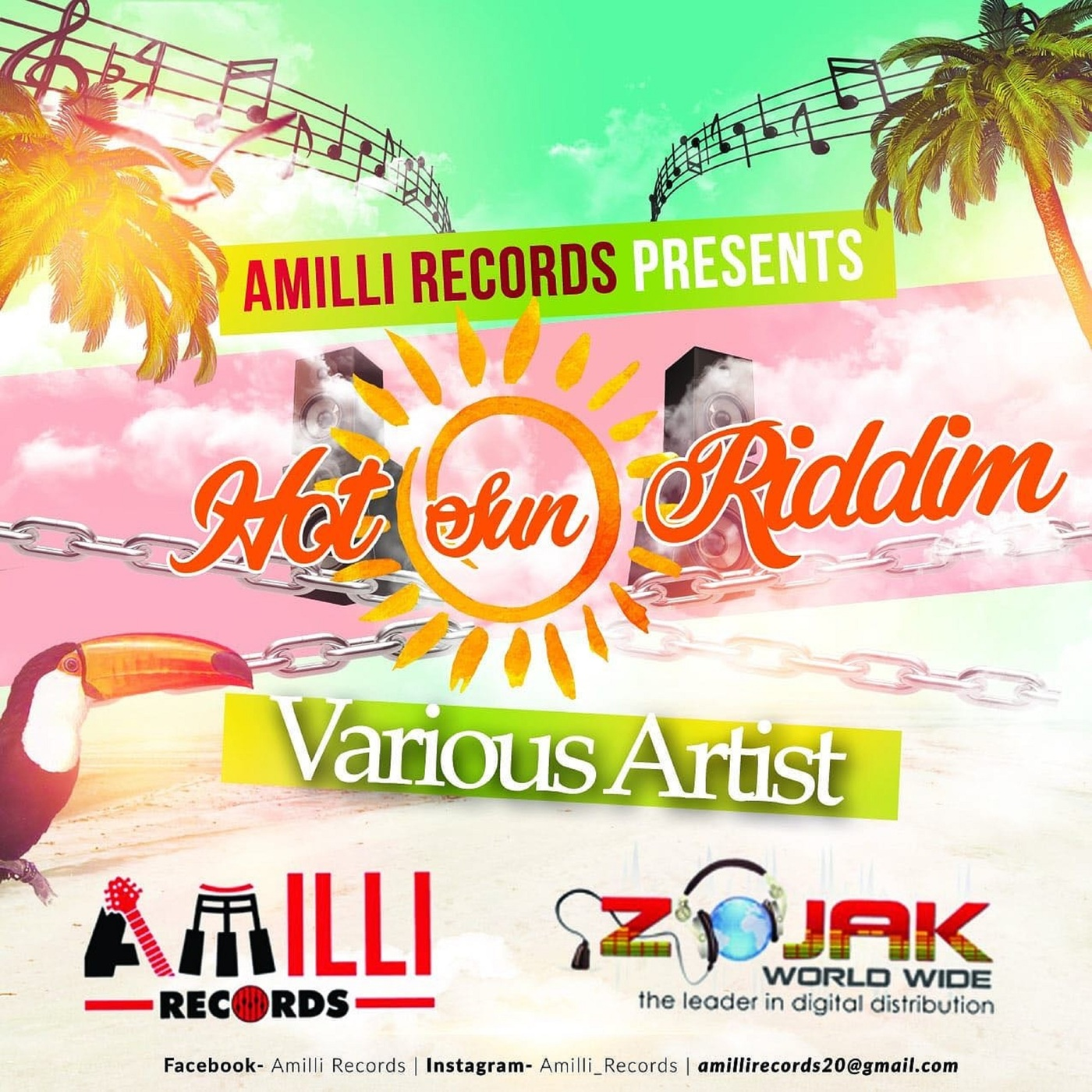 HOT SUN RIDDIM (DANCEHALL) - AMILLI RECORDS - 2018 | Reggae