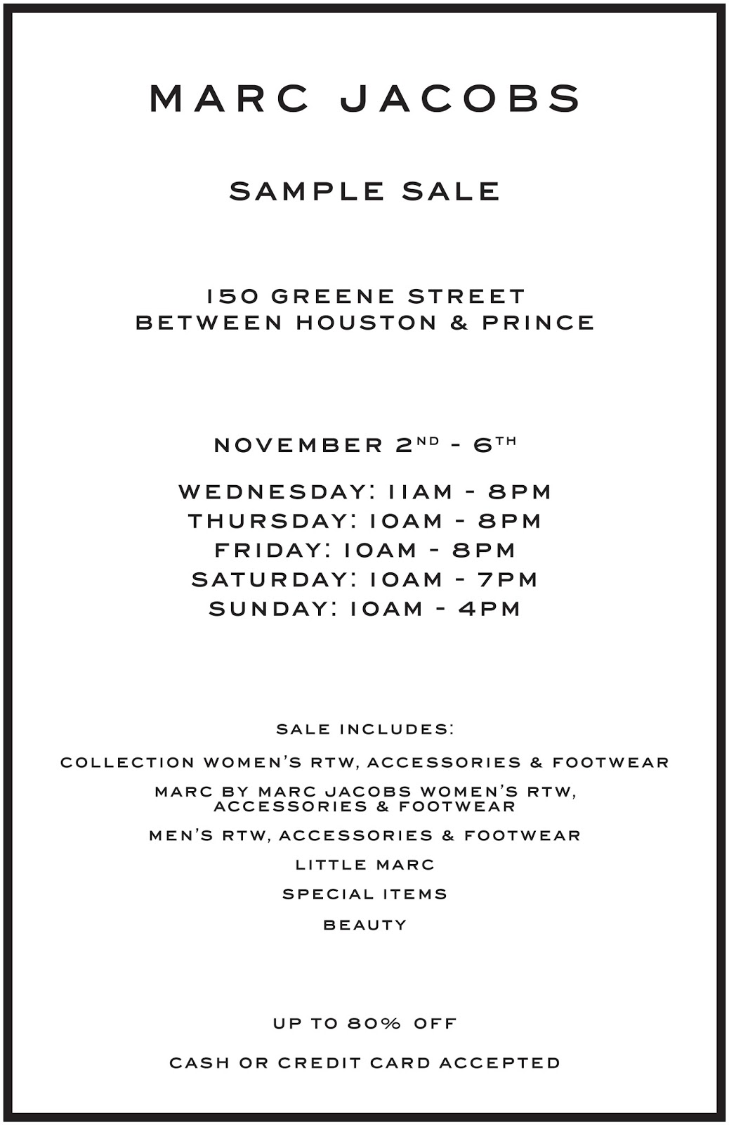 f708da003e2 fashionably petite  Marc Jacobs Sample Sale - 11 2 - 11 6 16