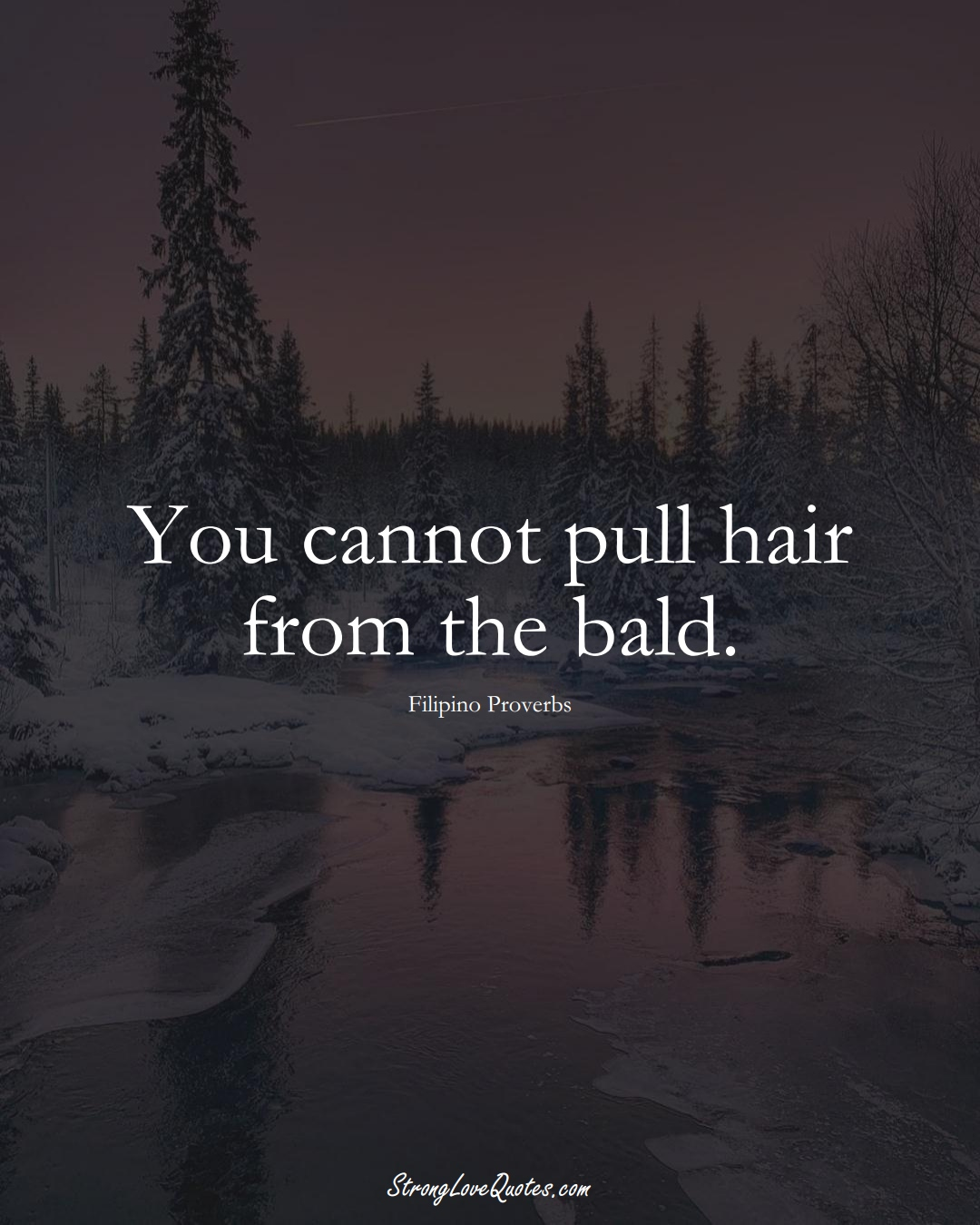 You cannot pull hair from the bald. (Filipino Sayings);  #AsianSayings