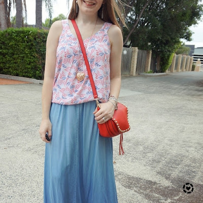 awayfromblue instagram summer chambray maxi skirt outfit leaf print tank red bag