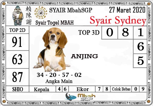Prediksi Togel Sydney Jumat 27 Maret 2020 - Syair Mbah SD