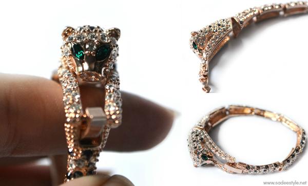 Stunning Rhinestone leopard bracelet