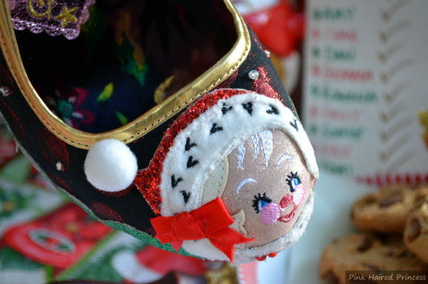 almond shaped toe of shoe with applique Mrs Claus