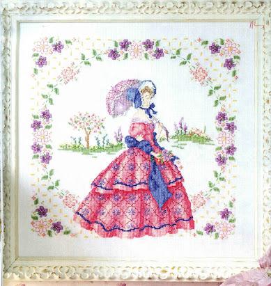 dama ottocento in abito rosa e capellino-schema punto croce dama in rosa