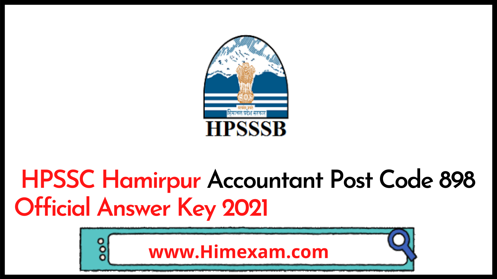 HPSSC Hamirpur Accountant Post Code 898 Official Answer Key 2021