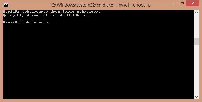 Gambar Perintah menghapus tabel menggunakan mysqli di cmd