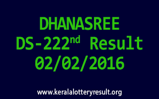 DHANASREE DS 222 Lottery Result 2-2-2016