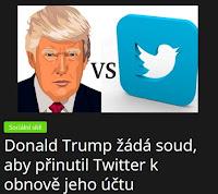 Donald Trump žádá soud, aby přinutil Twitter k obnově jeho účtu - AzaNoviny