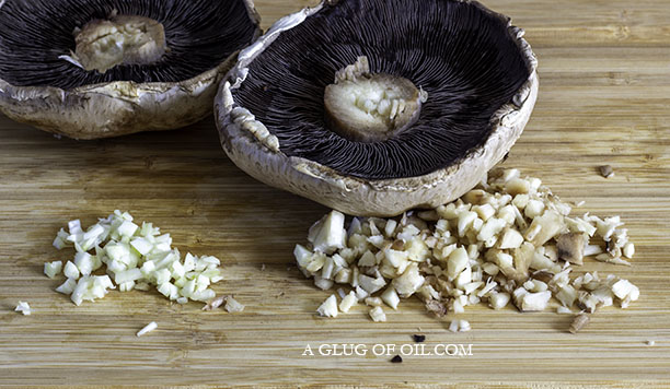 Large mushroom with stalks removed and chopped with garlic