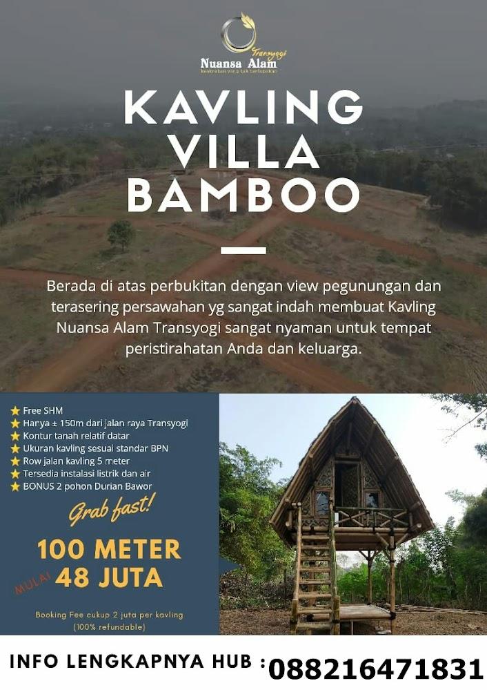 Kavling Villa Bamboo-Nuansa AlamTransyogi.Kebayang gak sih punya hunian dengan view pegunungan dan persawahan didepan mata, bisa melihat sunrise dan sunset setiap hari, udara sejuk dan air melimpah.