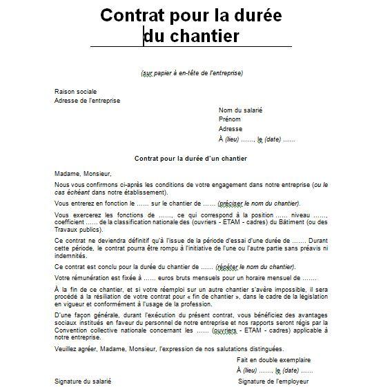 2 Modèles de contrat de chantier doc | Cours génie civil   Outils