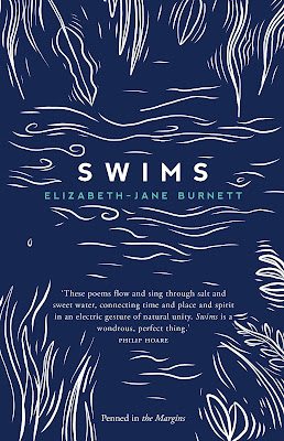 The cover shows a deep blue background, with white lines drawn on it to indicate the ripples on water, and leaves and reeds at the side of the river. The design is by George Simkin.
