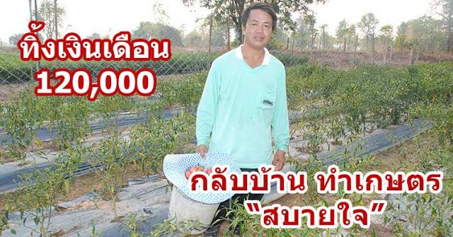 ทิ้งเงินเดือน 120,000 กลับบ้านนอกทำเกษตร สร้างรายได้และสบายใจ