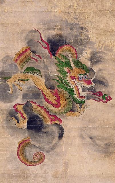 peinture dragon bondissant corée musée guimet