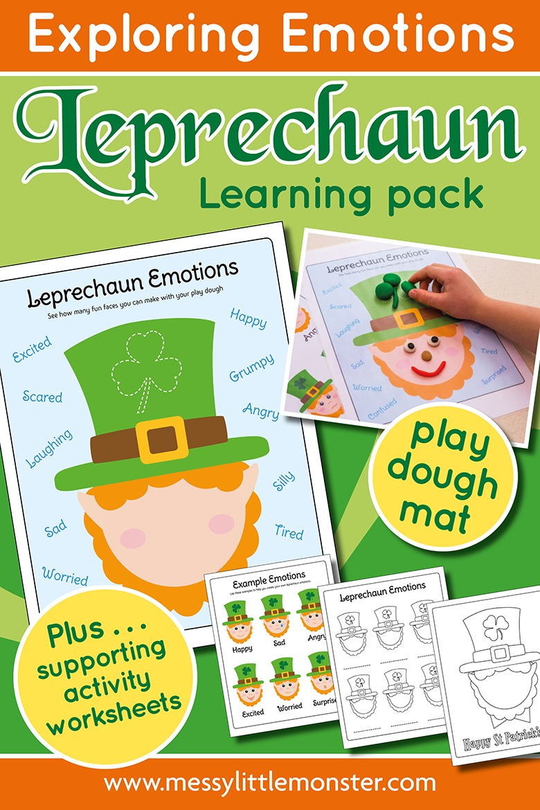 printable emotions worksheets. St Patricks Day leprechaun emotions activity pack with leprechaun playdough mat.