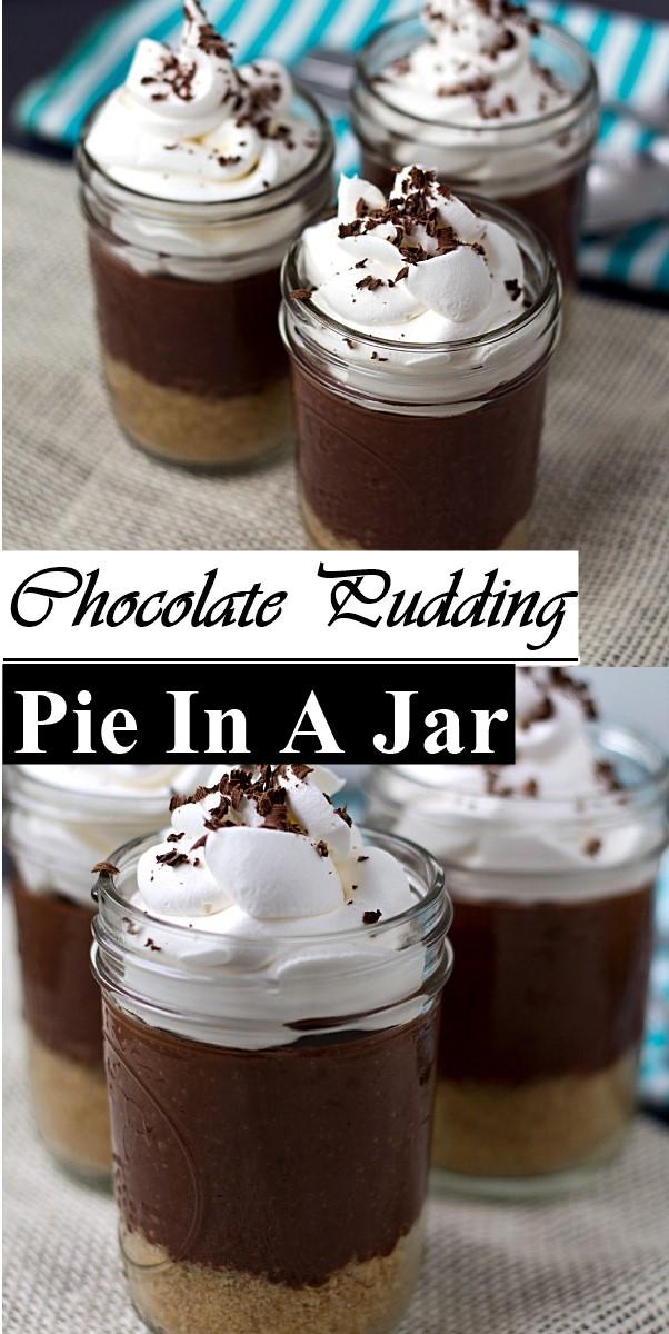 Chocolate Pudding Pie In A Jar #dessertrecipes