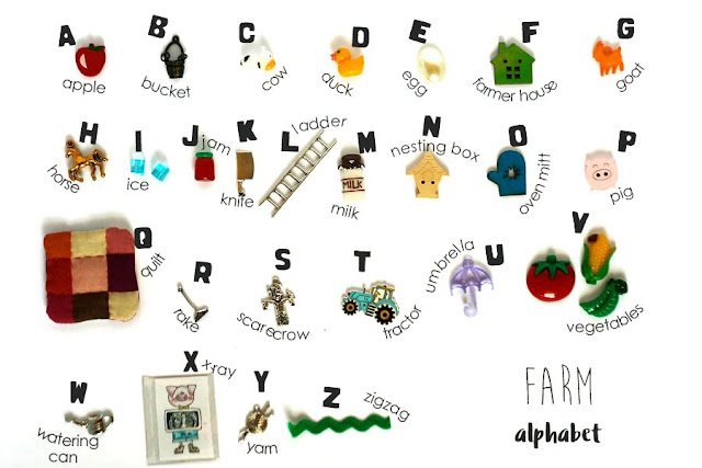 TomToy Farm theme I spy Alphabet trinkets, objects, Language miniatures, A-Z phonics, ABC box, letter sounds.
