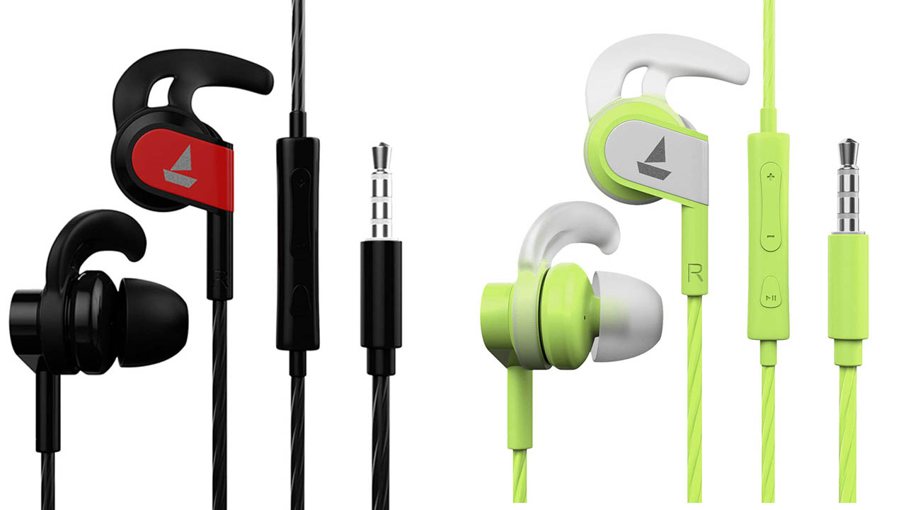 boAt Bassheads 242 Wired Sports Earphones black and neon lime