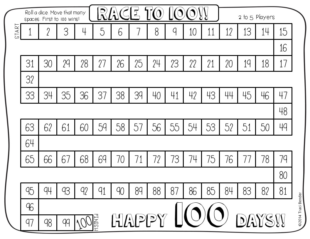 The Bender Bunch 100th Day Freebies
