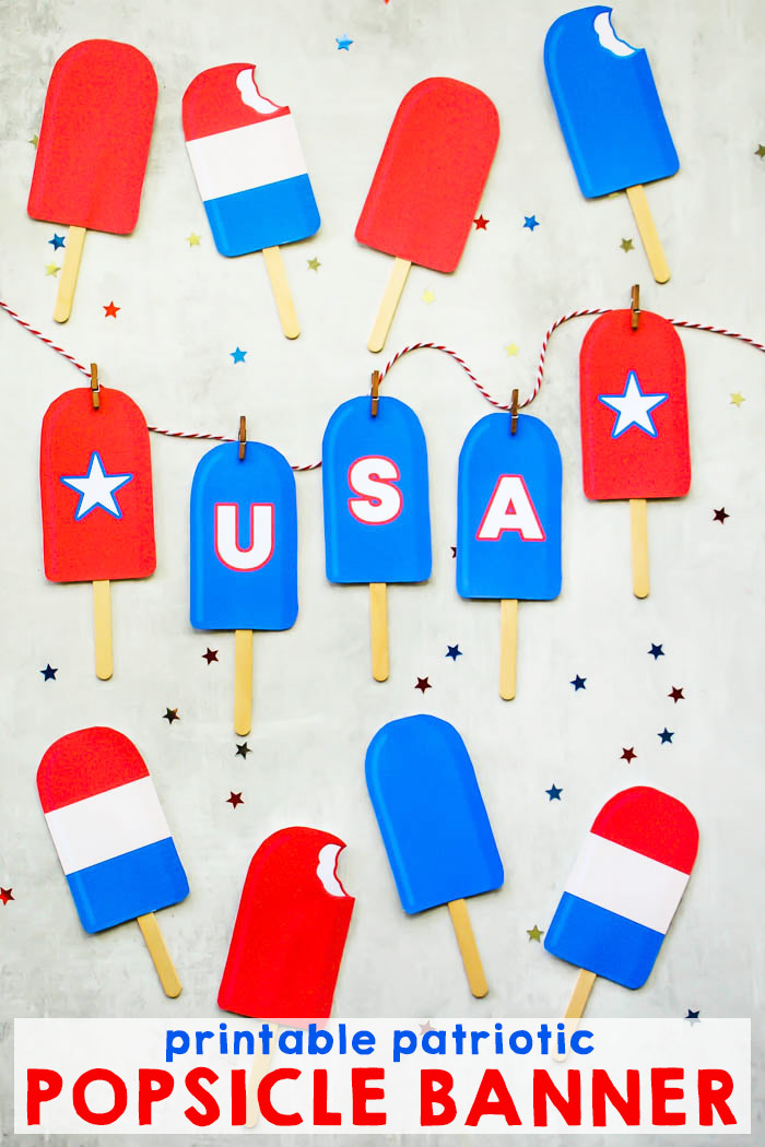 photograph regarding Popsicle Printable known as No cost Printable Patriotic Banner i need to be mopping the flooring