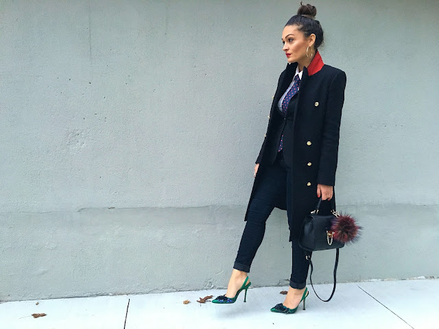 suit and tie, how to wear a suit, tailored outfit, manolo blahnik, manolo blahnik slin back stilettos, all balck outfit, what to wear to the office, corporate outfit, kako nositi odelo i kravatu, sta obuci u kancelariju