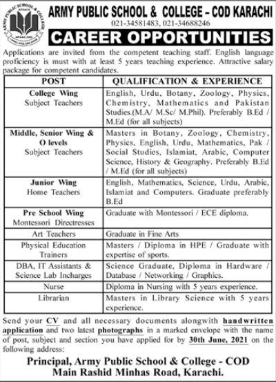 JOBS | Army Public School & College - COD Karachi