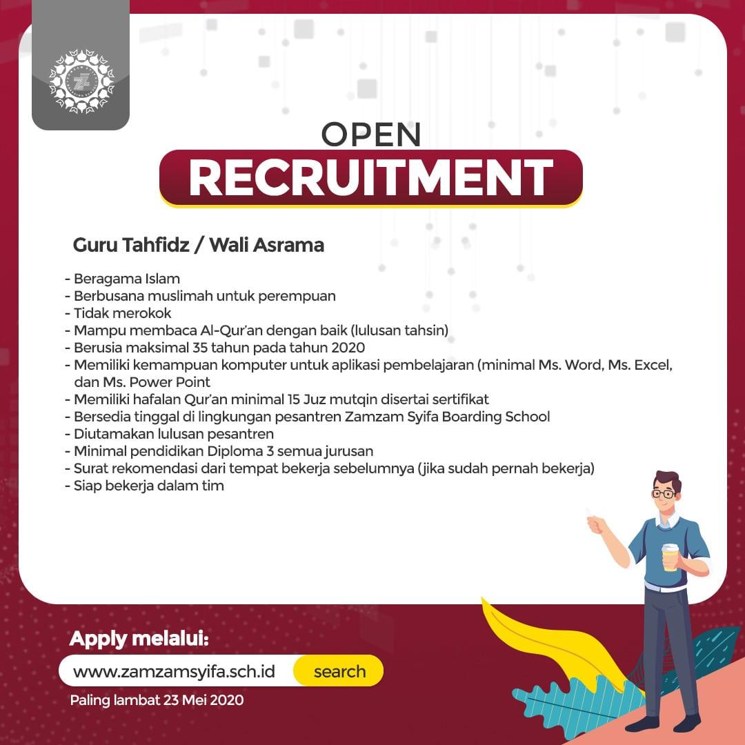 Lowongan Kerja Guru Dan Karyawan Zamzam Syifa School Rekrutmen Dan Lowongan Kerja Bulan Februari 2021