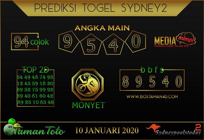 Prediksi Togel SYDNEY 2 TAMAN TOTO 10 JANUARI 2020
