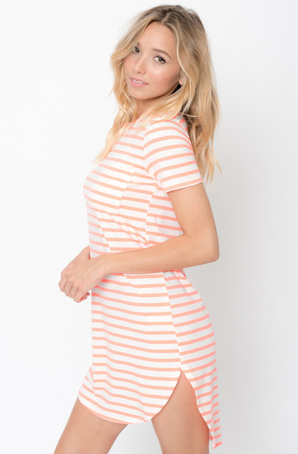 Buy Neon coral Striped Curved Hem tee dress online @caralase