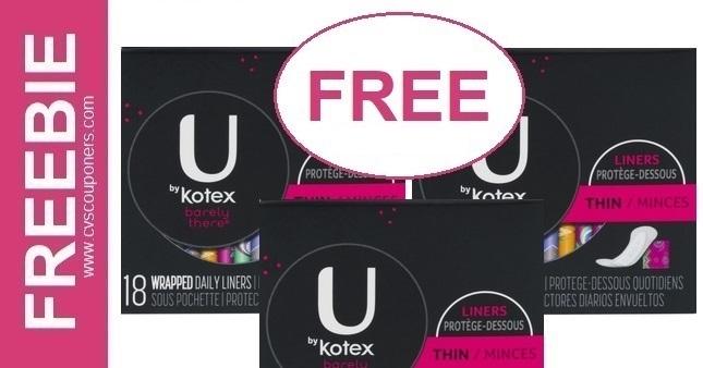 FREE U by Kotex liners CVS Deal 1-26-2-1