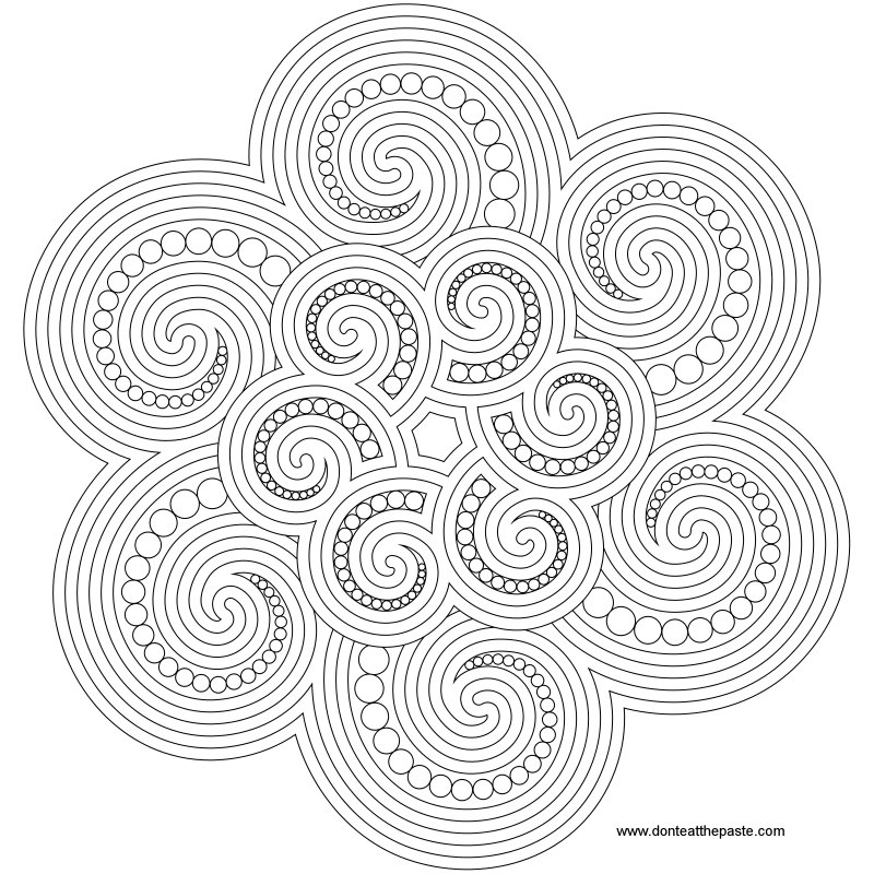 spiral coloring pages to print | Don't Eat the Paste: Spiral Mandala to color