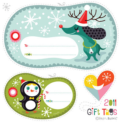 Christmas gift tag Etiqueta Navidad Helen Dardik