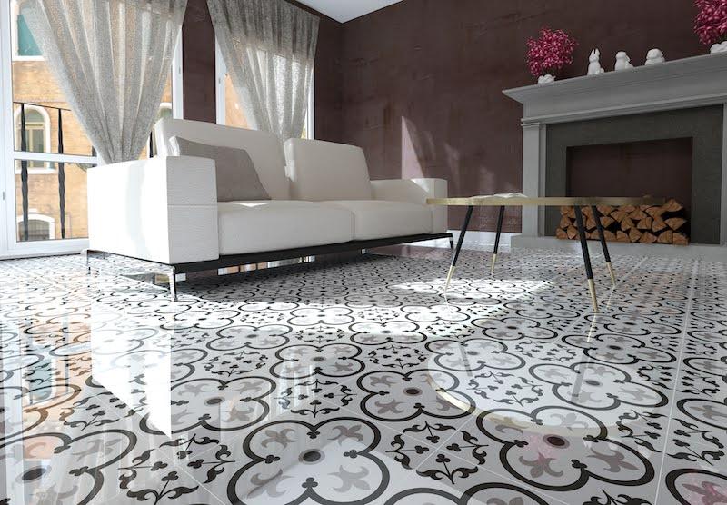 Pavimento cerámico imitación suelo hidráulico en suelo de salón.