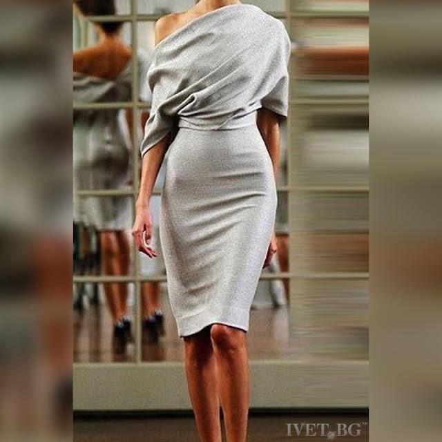 Κομψό μεσάτο γκρι φόρεμα LEXIE