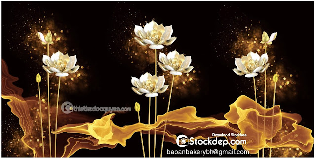 Realistic bunch lotus flowers Free Vector 3d