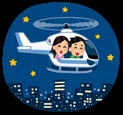 夜のヘリコプタークルージングのイラスト