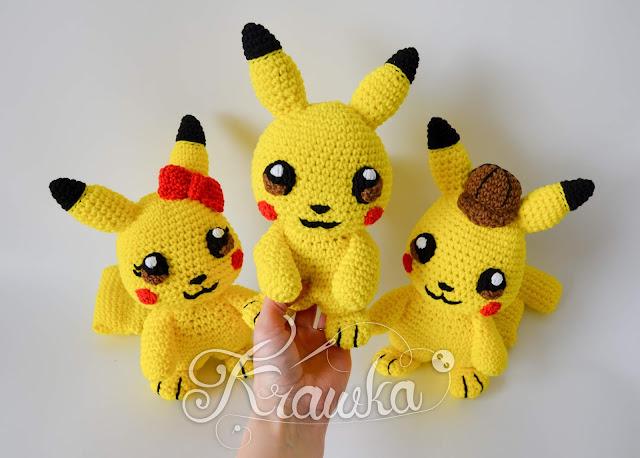 Krawka: Yellow electric mouse crochet pattern by Krawka pokemon, pikachu 3 versions in 1 pattern