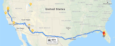 Map of Trip Home to Florida