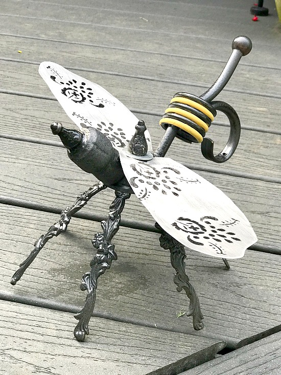 DIY yellow and black repurposed garden bee