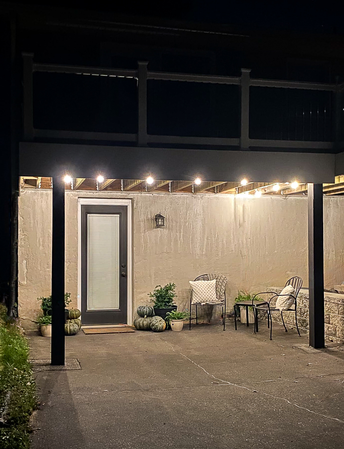 Fall patio with hanging lights