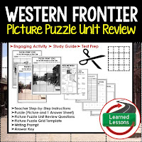 American History Picture Puzzles are great for TEST PREP, UNIT REVIEWS, TEST REVIEWS, and STUDY GUIDES, Western Frontier