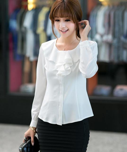 Model Baju Kemeja Kerja Wanita Warna Putih Cantik