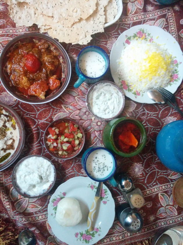 A vegetarian meal at Kashan, Iran