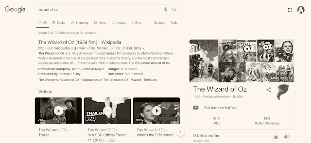 Wizard of OZ Google fun tricks