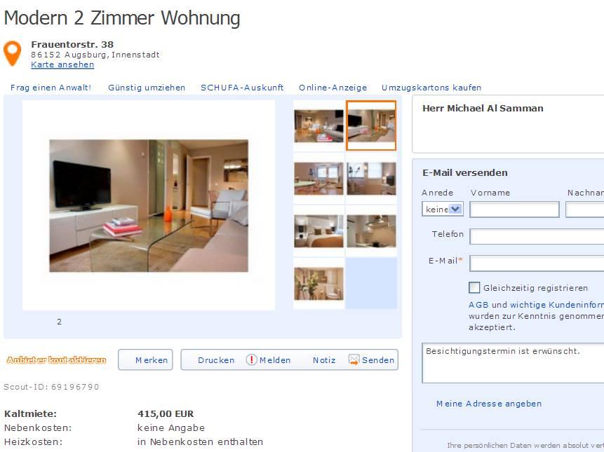 Informationen ber Wohnungsbetrug  informations about rental scam  Seite 293