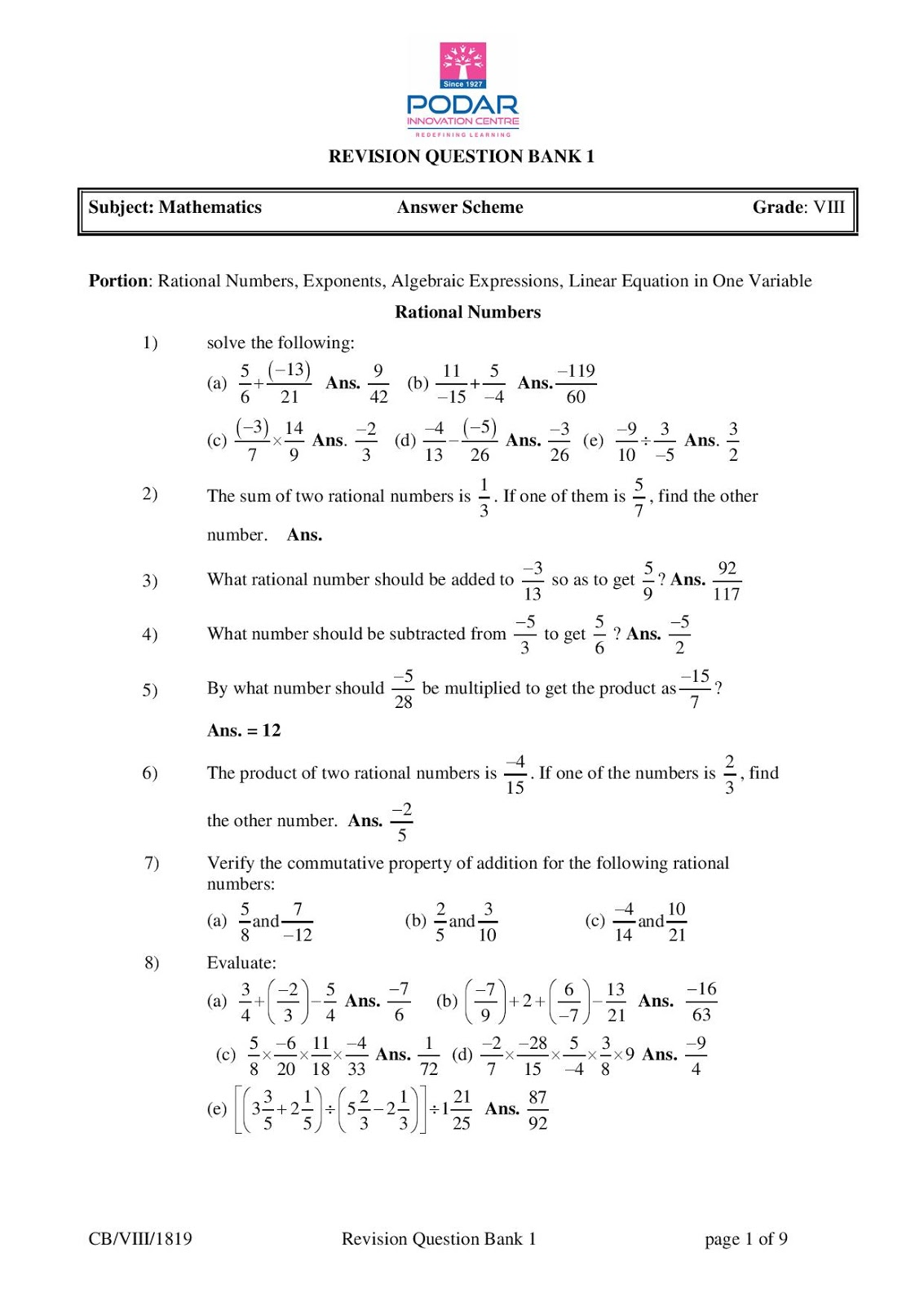 Math Revision Question Bank 1 Answer Scheme