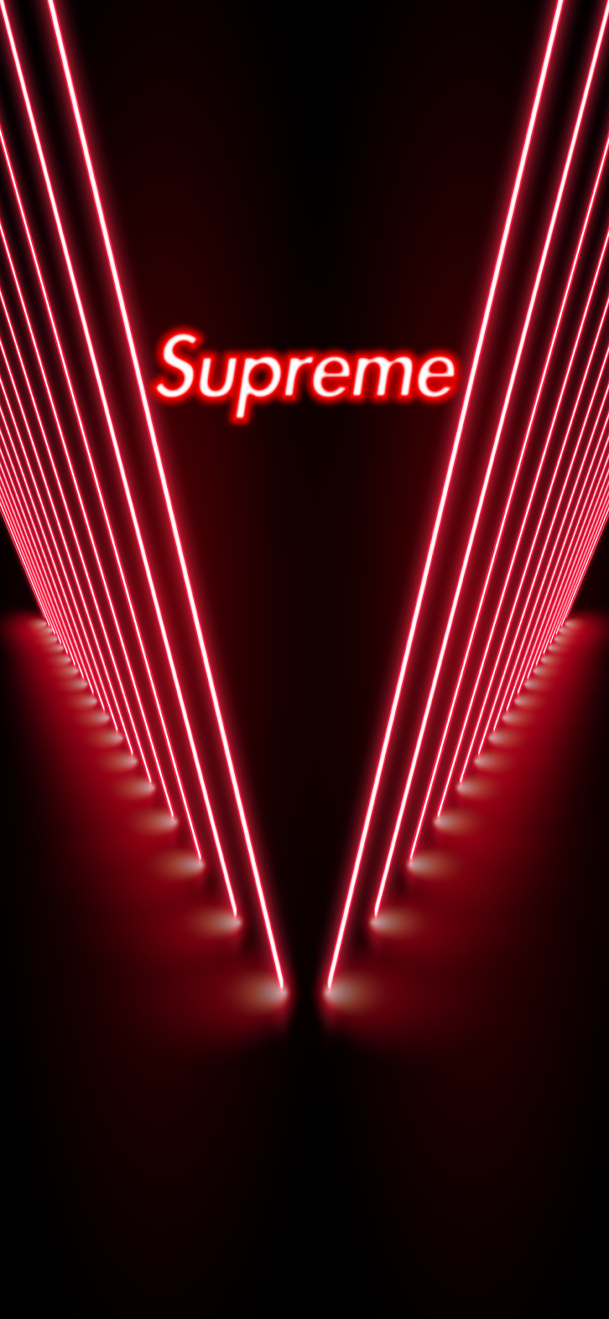 supreme red neon background for mobile iphone android