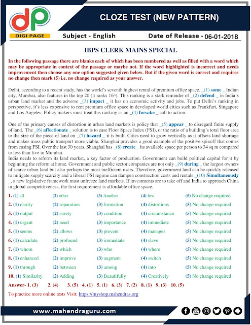 DP | Cloze Test (New Pattern)  For IBPS Clerk Mains Special | 06 - 01 - 2018