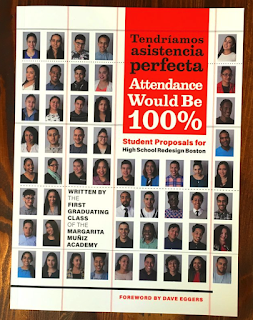The cover of the book is sort of yearbook-style, with small photos of each student in a grid.