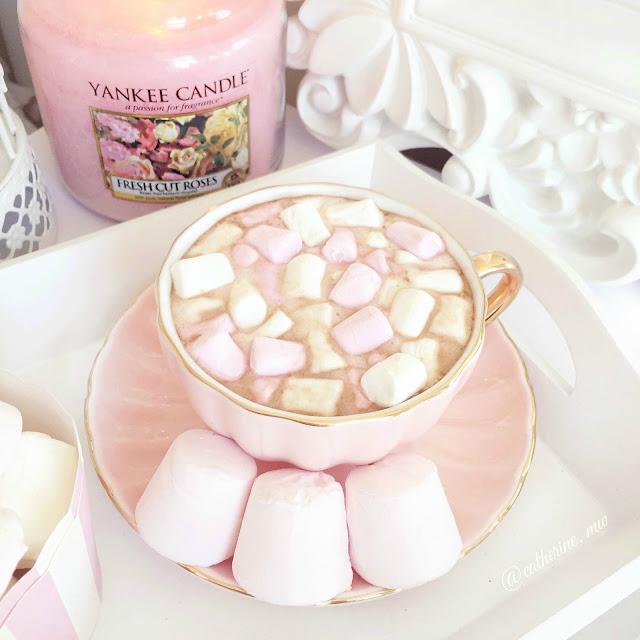 Blush Pink Teacup & Saucer Hot Chocolate
